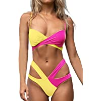 Tuopuda Costume da Bagno Donna Due Pezzi Bikini Set Push Up Imbottito Sexy Abbinamento di Colore Costumi da Bagno…