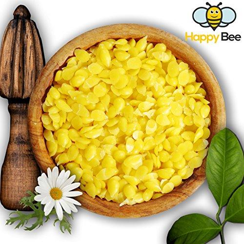 Happy Beene 100% Reine Bienenwachs Pastillen - 200 Gramm - Perfekt geeignet für Kosmetik und die Kerzen Herstellung
