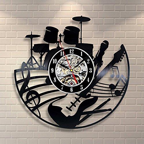 YUN Clock@ Wanduhr aus Vinyl Schallplattenuhr Rockmusik Trommel Design-Uhr Wand-Deko Vintage Familien Zimmer Dekoration Durchmesser 30 cm
