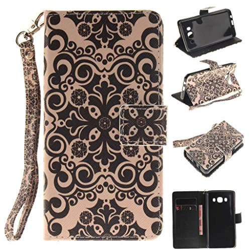 Price comparison product image Galaxy J5 Case, iGrelem® Flower Pattern Design Wallet Case for Samsung Galaxy J5 2016 (SM-J510FN), Galaxy J5 PU Leather Cover Case, with Card Slots and Smart Standing - Flower #1, Black