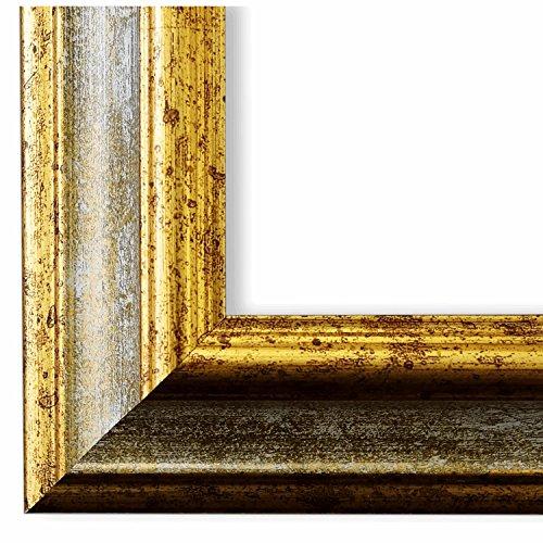 Bilderrahmen Bari Grau Gold 4,2-60 x 80 cm - LR - 500 Varianten - alle Größen - handgefertigt - Galerie-Qualität - Antik, Barock, Landhaus, Shabby, Modern - Fotorahmen Urkundenrahmen Posterrahmen -