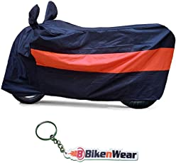 Water Proof Body Cover-(Black-Orange) for Honda Hornet 160R with Keychain