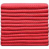 Sinland Paño de microfibra para limpieza con diseño en ondas paños de cocina toallas de cocina trapos de cocina toallas de mano(Rojo,30x30cm x 12 unidades)