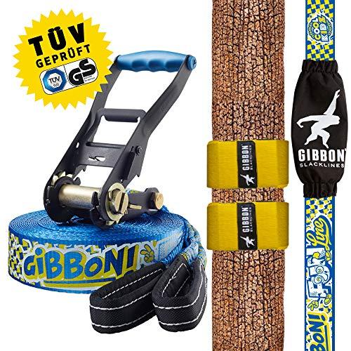 n Line mit Tree Pro, Blau, 15 Meter (12,5m Band + 2,5m Ratschenband), Anfänger und Einsteiger, ideal für Kinder und Jugendliche, inklusive Ratschenschutz und Ratschenrücksicherung, Breite 2