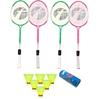 Feroc Swag Set of 4 Piece Badminton Racket with 6 Piece Nylon Shuttle.
