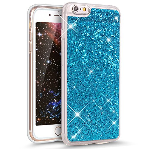 Coque iPhone 6S, Étui iPhone 6, iPhone 6S/iPhone 6 Case, ikasus® Coque iPhone 6S/iPhone 6 Silicone Étui Housse Téléphone Couverture TPU avec Modèle de diamant brillant paillettes bling brillant diaman Bleu