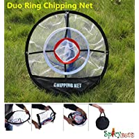 Spicybuys Golf Duo-Ring-Chipping-Netz tragbar 50,8cm Abschlag-Training Praxis-Hilfe In/Outdoor Tasche