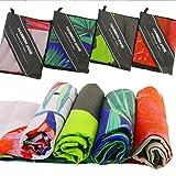 Harson&Jane Mikrofaser schnell trocken Reisehandtuch super leicht ideal für Yoga, Schwimmen, Gymnastik, Pilates, Camping auch gut für die Haare oder Bad Inklusive Transporttasche (03Plant, 80×130cm)