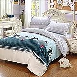 CdyBox ländlichen Stil Bettbezug mit Bettbezug Kissenbezüge Betten Twin Queen King, Polyester-Mischgewebe, Mint Green cat, 2.0m
