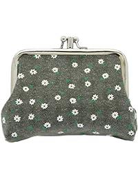 Y-BOA Rétro Porte-Monnaie Toile Fille Imprimé Petite Fleur Sac à Main Portable Wallet Femme