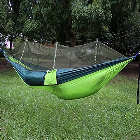 Miaoge extérieur Hamac parachute double Vert militaire Moustiquaire Camping Air tentes 260*140cm,