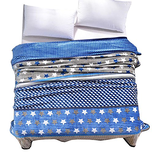 ShineMoon Diamonds / Stars Pattern Adult Children Bedding Blanket Snug Fleece Blankets Sofa Bed Throw Covers Single Blue, 180x200cm