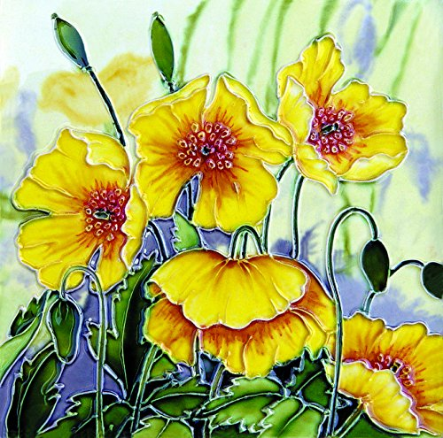 yh-arts-golden-poppies-ceramic-tiles-multi-colour-8-x-8-inch