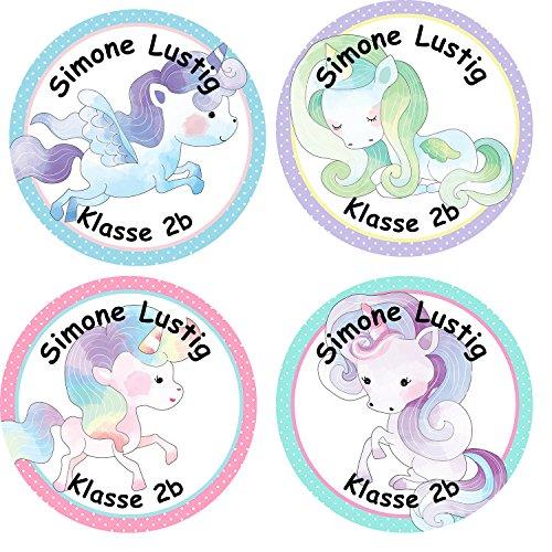 Papierdrachen 24 Individuelle Aufkleber für Kinder - Motiv Einhorn - Personalisierte Sticker - Schule Einschulung