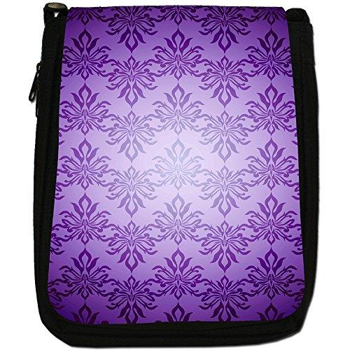 Elegante-Carta da parati fantasia, colore: nero, Borsa a spalla in tela da uomo, taglia media Nero (Purple Colour Pattern)
