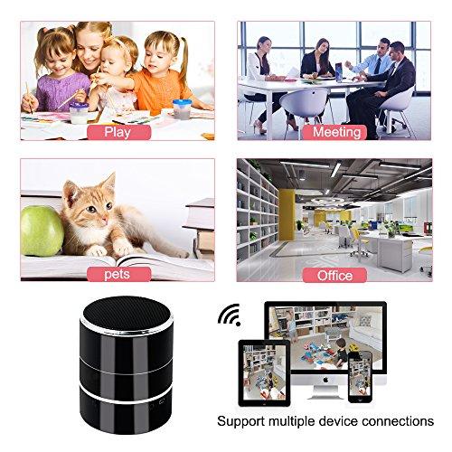 Spy Cam, HD Mini Telecamera Nascosta Spia WIFI Bluetooth Speaker TANGMI Microcamera Nanny 1080P 180° Pan Rotation Obiettivo della Fotocamera Sorveglianza di Sicurezza Domestica - 6