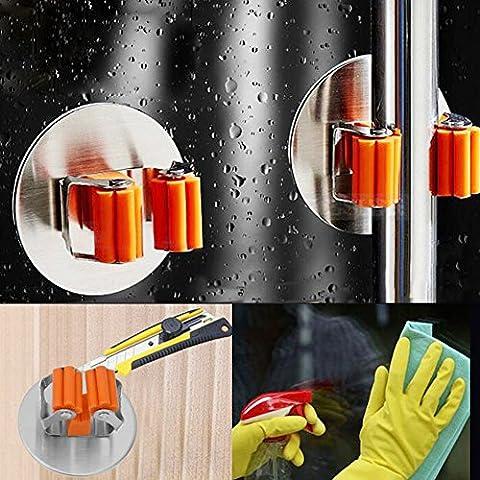 ZAVF Mop Broom Halter Selbstklebend Edelstahl Installed Spring Clip Mop Broom Holder Organisieren Non Slide für eine Vielzahl von Mops Broom (S)