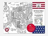 O My Products OMY tasca di 24Tovagliette da tavolo da colorare sui USA