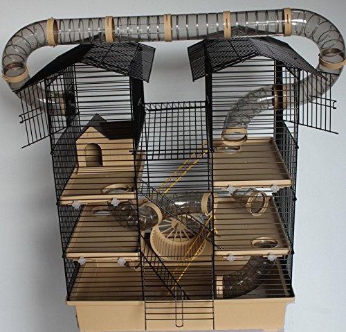 XXL Hamsterburg Hamsterkäfig Mäusekäfig CH2 Beige mit Röhrensystem