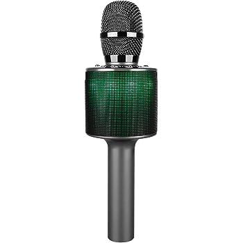 Microfono per Karaoke Wireless, Palmare Altoparlante Bluetooth per Cellulare Microfono per Musica per Cantare a Casa KTV per Feste da Viaggio all'aperto, per Adattarsi alle app per smartphone Android di Apple iPhone Pc(D03 grigio scuro)