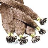 Just Beautiful Hair 100 x 0,8g REMY U-Tip Bonding Extensions - 40cm - glatt - #4 Braun - Echthaar Extensions Haaverlängerung Nail Keratin
