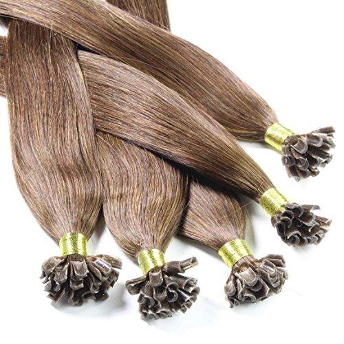 hair2heart 50 x 0.5g Echthaar Bonding Extensions, glatt - 30cm - #4 braun -