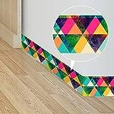 Frolahouse Europäische und Amerikanische Art Bunte Dreiecke Selbstklebende Tapete Border Roll Wasserdicht Einfache Installation Wall Art Aufkleber für Hausgarten 10X200CM