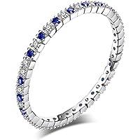 JewelryPalace Squisito Rotonda Sinteitco Rubino Fascia di Cerimonia Nuziale Sintetico Blu Spinello Nozze Anello Argento…