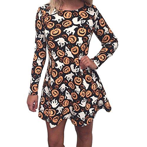 iPretty Dame Frauen Halloween Print Design lange Ärmel Party Kleid Swing Mini Kleider (Dark Angel Halloween Kostüme Für Frauen)
