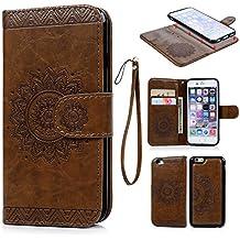 iPhone 6 Funda Libro Suave Leather con Tapa, iPhone 6s Carcasa de Cuero Impresión con TPU Case Interna (2 en 1 , Desmontable), Cierre Magnético, Función de Soporte, Funda Billetera para Tarjetas y Billetes - Diseño de Tótem, Marrón