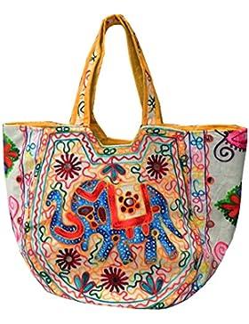 Indische Baumwolltasche bunte Stickereien Spiegel Tasche Accessoire