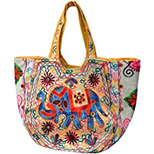 Bolsa india algodón multicolor bordada espejitos bolsos accesorio