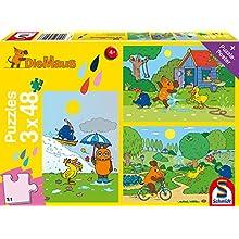 Schmidt Spiele- Puzzle Amusez-Vous avec La Souris 3 x 48 Pièces, 56213
