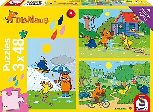 Schmidt Spiele Mouse TV Puzzle 56213, gelb, Viel Viel Spaß mit der Maus, 3x48 Teile (Tv-spiele)