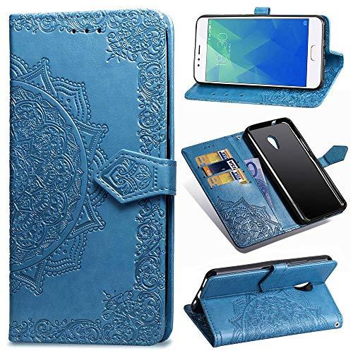 Ycloud PU Pelle Custodia per Meizu M5S Flip Portafoglio Cover con Stand Funzione Carta Slot Disegno Mandala Goffratura Blu Case per Meizu M5S
