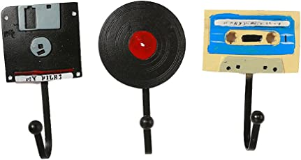SUPVOX 3pcs Resin Coat Hook Retro CD Disk Record Tape Hooks Hanger Wall Mounted Decorative Wall Hook for Coat Towel Keys Bags Kitchen Bathroom and Home Decoration