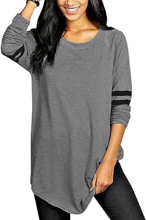 ANFTFH Damen Oberteile Langarmshirt Damen schwarz t Shirt Damen Langarm Damen Basic Langarmshirt Oversize Pullover