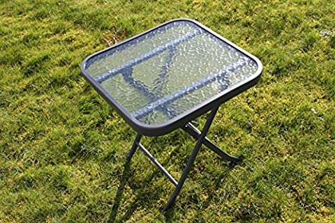 Metal Framed Glass Top Folding Garden Side