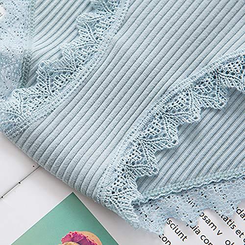 Haodou String mit Spitze Damen Unterhose Baumwolle Unterwäsche Reizvolle Wäsche durchsichtige Tanga G-Schnur Schlüpfer Damenwäsche Dessous Länge 21cm (hellgrün) - 5