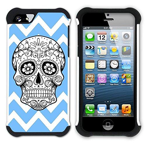 Graphic4You Mexikanische Zuckerschädel Winkel Muster (Wasserblau) Hart + Weiche Kratzfeste Hülle Case Schale Tasche Schutzhülle für Apple iPhone SE / 5 / 5S Babyblau