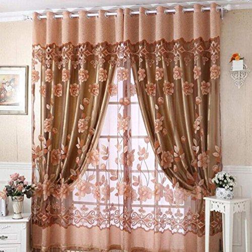 Tpulling tenda 250cm x 100cm stampa floreale velo, leggera ombreggiatura, tenda per porta, finestra, divisore, pannello caffè