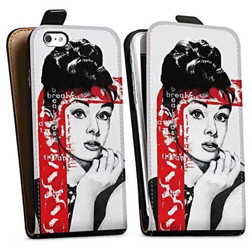 Apple iPhone X Silikon Hülle Case Schutzhülle Audrey Hepburn Zeichnung Frau Downflip Tasche schwarz
