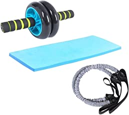 Klapp KL-ARS Dual Wheel AB Roller Abdominal Toner Exerciser with 2 Latex Resistance Tubes