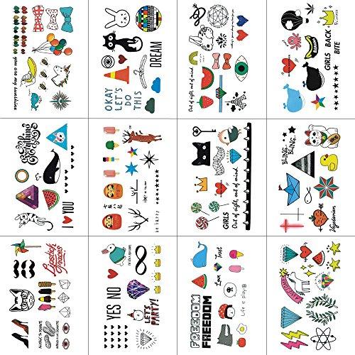 Wyuen 12pezzi/lotto cartoon animal tatuaggi temporanei per ragazzo bambini fashion body art kids impermeabile mano finto tatoo 10.5x 6cm w12–17