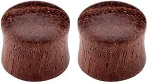 PiercingJ, 1paio di plug dilatatori in legno a doppia svasatura, classico vintage, unisex, colore: marrone scuro