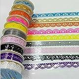 Domire Adhésif décoratif dentelle coton Washi Ruban adhésif pour DIY Craft 7 pcs