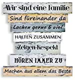 levandeo Holzschild 32x30cm Familienregeln Wandbild Familie Shabby Chic Vintage Deko