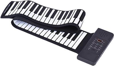 Ammoon Piano électronique portable en silicone enroulable avec clavier 88touches, batterie Li-Ion et haut-parleurs intégrés + pédale