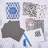 Doodle Ikat Note Cards - Set of 12 pcs with envelopes