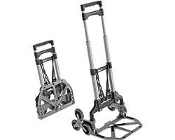 ATHLON TOOLS Diable pliable en aluminium avec patins antidérapants - Roues avec surface de roulement douce - Avec 2 cordes d'